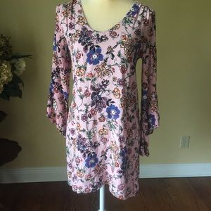 Pink rose print dress EUC S